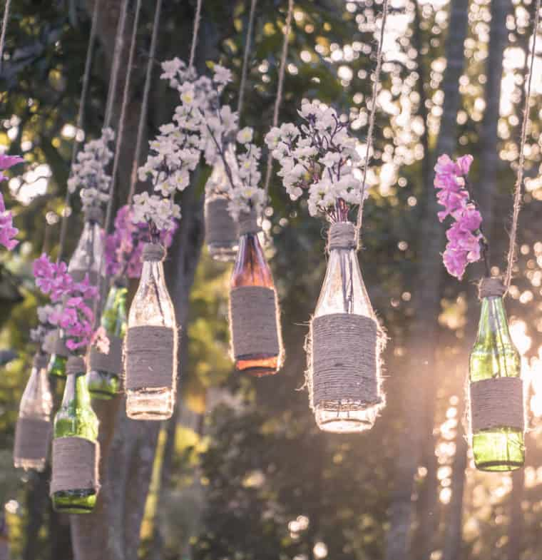 How to use old bottles as decorations